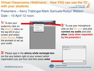Virtual Classrooms (Webinars) -   How YOU  can use the VC with your  students