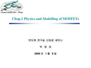 Chap.1 Physics and Modelling of MOSFETs