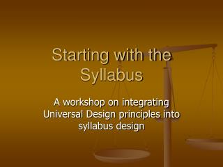 Starting with the Syllabus