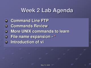 Week 2 Lab Agenda