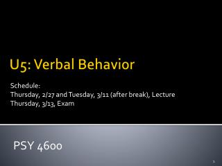 U5: Verbal Behavior