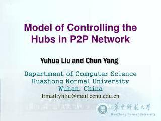 Model of Controlling the Hubs in P2P Network