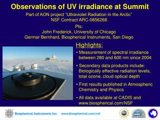 Observations of UV irradiance at Summit