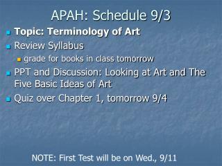 APAH: Schedule 9/3