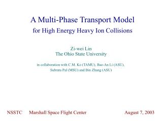 A Multi-Phase Transport Model for High Energy Heavy Ion Collisions