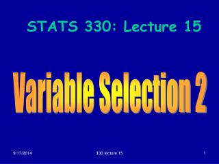 STATS 330: Lecture 15