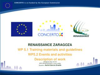 RENAISSANCE ZARAGOZA WP 5.1 Training materials and guidelines WP5.2 Events and activities