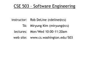 CSE 503 – Software Engineering