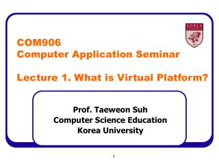 COM906 Computer Application Seminar Lecture 1. What is Virtual Platform?