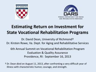 6th Annual Summit on Vocational Rehabilitation Program Evaluation & Quality Assurance