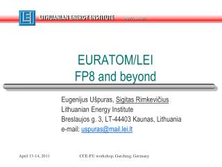 EURATOM/LEI  FP8  and beyond