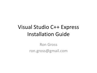 Visual Studio C++ Express Installation Guide