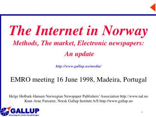The Internet in Norway Methods, The market, Electronic newspapers: An update