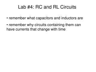 Lab #4: RC and RL Circuits