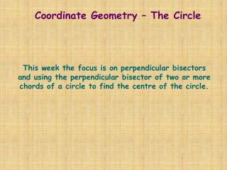Coordinate Geometry � The Circle