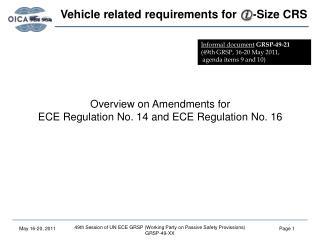 Overview on Amendments for ECE Regulation No. 14 and ECE Regulation No. 16