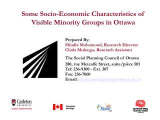 Some Socio-Economic Characteristics of Visible Minority Groups in Ottawa