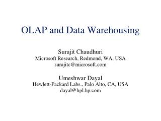 OLAP and Data Warehousing