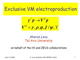 Exclusive VM electroproduction