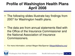 Profile of Washington Health Plans  April 2008