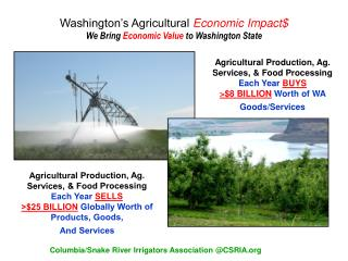 Washington's Agricultural  Economic Impact$ We Bring  Economic Value  to Washington State