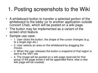 1. Posting screenshots to the Wiki