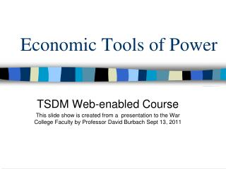 Economic Tools of Power