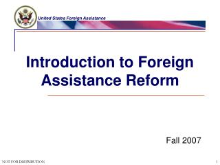 Introduction to Foreign Assistance Reform