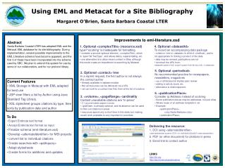 Using EML and Metacat for a Site Bibliography