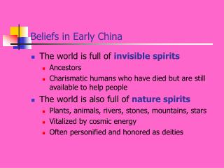 Beliefs in Early China