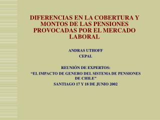 DIFERENCIAS EN LA COBERTURA Y MONTOS DE LAS PENSIONES PROVOCADAS POR EL MERCADO LABORAL