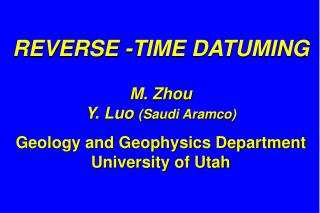 REVERSE -TIME DATUMING