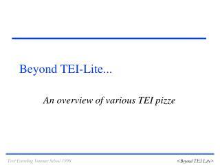 Beyond TEI-Lite...