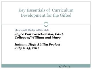 Key Essentials of  Curriculum Development for the Gifted