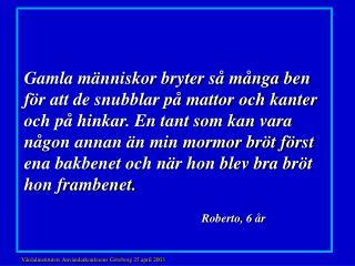 Vårdalinstitutets Användarkonferens Göteborg 25 april 200 3