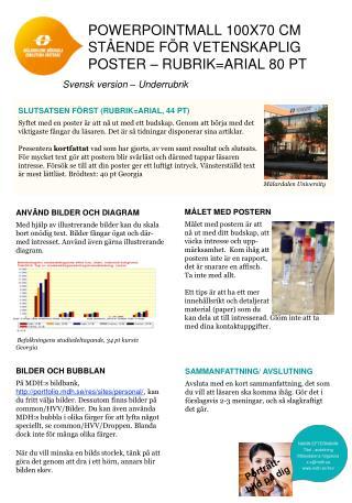 PowerPointmall  100x70 cm stående för vetenskaplig poster – rubrik=Arial 80 pt