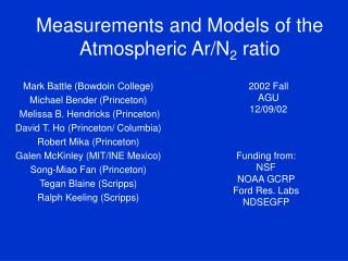 Measurements and Models of the Atmospheric Ar/N 2  ratio