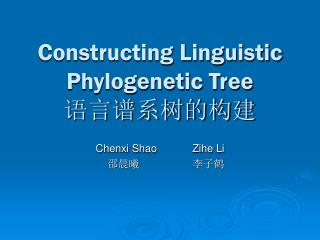 Constructing Linguistic Phylogenetic Tree 语言谱系树的构建