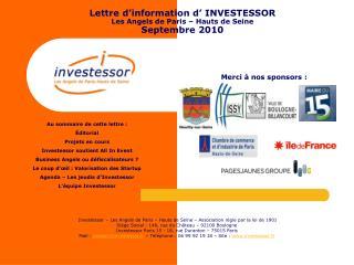 Lettre d'information d' INVESTESSOR Les Angels de Paris – Hauts de Seine Septembre 2010