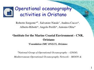 Operational oceanography  activities in Oristano