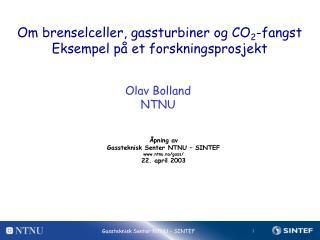 Om brenselceller, gassturbiner og CO 2 -fangst Eksempel på et forskningsprosjekt