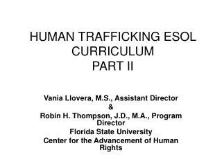 HUMAN TRAFFICKING ESOL CURRICULUM PART II