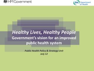 Healthy Lives, Healthy People Government's vision for an improved  public health system