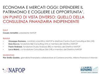 Saluti Cesare Armellini , presidente NAFOP Relatori
