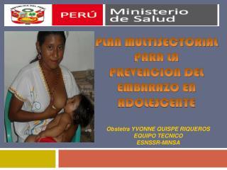 Obstetra YVONNE QUISPE RIQUEROS EQUIPO TECNICO ESNSSR-MINSA