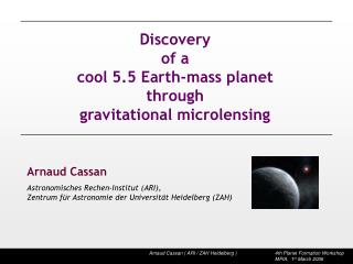 Discovery of a  cool 5.5 Earth-mass planet  through gravitational microlensing