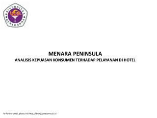 MENARA PENINSULA ANALISIS KEPUASAN KONSUMEN TERHADAP PELAYANAN DI HOTEL