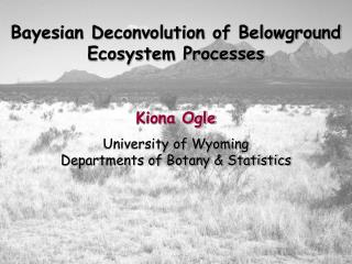Bayesian Deconvolution of Belowground Ecosystem Processes Kiona Ogle University of Wyoming