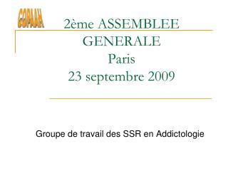 2 me ASSEMBLEE GENERALE Paris 23 septembre 2009