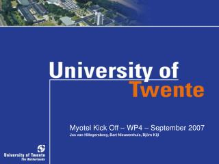 Myotel Kick Off – WP4 – September 2007